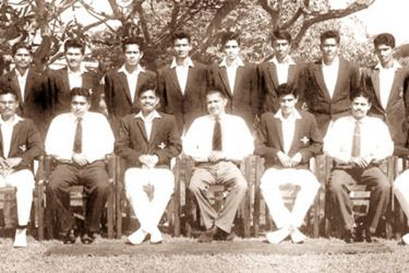 Adastrians Cricket Team (Royal Ceylon Air Force) Division Two Donovan Andree cricket champions and Cecil Horan limited-over runner-up 1965/66: Seated (from left): Donald Perera, Padman Mendis (Chairman Air Force Cricket), Charlie Amarasinghe (Vice Captain), Rohan Amarasekera (Commander of the Air Force), K. M. Nelson (Captain), Lewellyn Fernando (Command Cricket Officer), Norbert Fernando. Second Row Standing (from left): K. S. S. P. Silva, P. Premadasa Silva, W. S. Silva, Mohamed Faleel, Dilwin Mendis, Nim