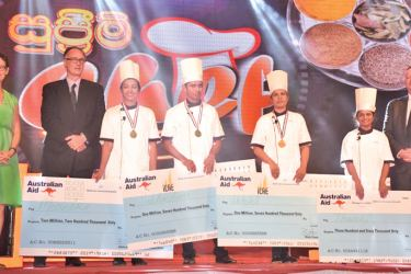 Australian Deputy High Commissioner, Victoria Coakley,Deputy CEO of the International College of Advance Education (ICEA), Brian Chapman and Deputy CEo of Scope Global, Andrew Brown with winners of the 'Supreme Chef' Reality TV Show