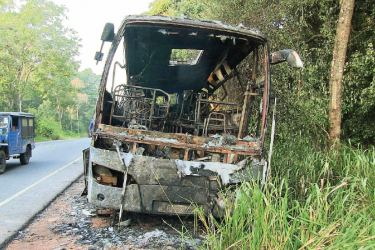 The bus gutted by the fire. Picture by A.A.L. Dias, Matale District Group Corr.