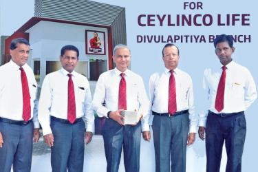 Standing from left Ceylinco Life's Senior Deputy General Manager – Business Development Mr Wasantha Wijesinghe, Director Mr Ranga Abeynayake, Managing Director/CEO Mr Thushara Ranasinghe, Director Mr Palitha Jayawardena and Regional Sales Manager Mr Sunil Chandralal at the foundation stone laying ceremony.