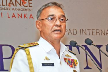 Vice Admiral Piyal De Silva, Commander of the Sri Lanka Navy speaks at the Asia Pacific International Symposium, held in Colombo.  Picture by Wimal Karunathilake
