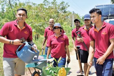 Shangri La Hotel employees during the tree-planting campaign to protect the Mahadhodanaththewa tank in the Madde Ramabawa Cascade.