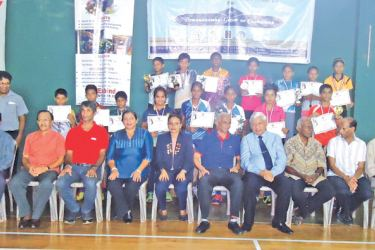 Champions, runner-ups, and semifinalists with the chief guest M.R. Jumar and other guests.