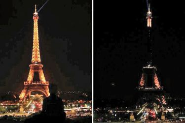 The Eiffel Tower went dark at midnight to pay tribute to the victims of the Sri Lanka bombings.