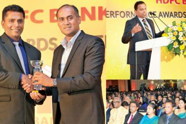 Branch Manager Nugegoda Kosala De Silva receives the award for the best branch, from HDFC Bank Chairman Dr. R.H. Meewakkala. General Manager and CEO of HDFC Bank, Palitha Gamage sharing his thoughts at the event.
