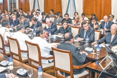 President Maithripala Sirisena met the Ambassadors and High Commissioners based in Sri Lanka, Resident representatives of United Nations and affiliated organisations and Head of other international agencies at the Presidential Secretariat on April 23 in the aftermath of the  Easter Sunday attacks.  Picture by Sudath Silva