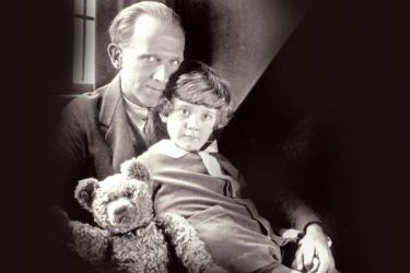 A. Milne with Pooh and Christopher Robin