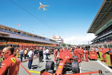 The Emirates A380 performed a flypast over the race track at The Spanish Grand Prix