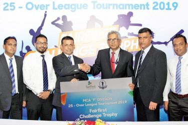 Here the Managing Director /CEO, Fairfirst Insurance, Dr. Sanjeev Jha (3rd from right) handing over the sponsorship package to the President MCA, Roshan Iddamalgoda (3rd from left); others in the picture from left: Mahesh de Alwis, General Secretary cum Chairman Cricket Development Committee, MCA, Sasith Bambaradeniya – Head of Marketing and Digital Solution, Fairfirst Insurance, Rohana Dissanayake , Vice President cum Chairman Sponsorship Committee, MCA, Sanjay Siriwardena Acting Head of Sales Fairfirst In