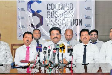 Officials from the Colombo Business Association in Colombo. Picture by Samantha Weerasiri