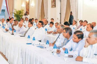 President Maithripala Sirisena addressing the Media Heads, newspaper editors and Heads of audiovisual media institutions at President's House in Colombo.
