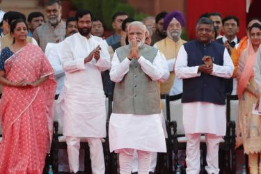 Indian Prime Minister Narendra Modi took the oath of office as the Prime Minister of India for a second term at the forecourt of Rashtrapati Bhavan on Thursday. Prime Minister Modi greeting the crowds.
