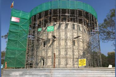The construction work of the water tower in Isinnbessagala in progress. Picture by Nimal Wijesinghe