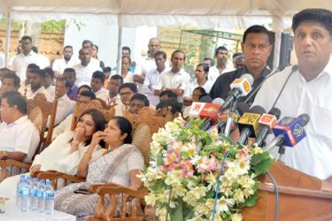 Minister Sajith Premadasa addresses the gathering.