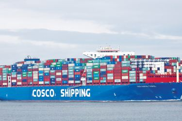 Container vessel COSCO Taurus calling at the anchorage area to dispatch patient.