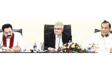 Prime Minister Ranil Wickremesinghe, Select Committee Chairman and Speaker of Parliament Karu Jayasuriya and Opposition Leader Mahinda Rajapaksa  at the proceedings of the Select Committee of Parliament to Study and Report to Parliament its Recommendations to Ensure Communal and Religious Harmony in Sri Lanka.