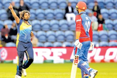 Sri Lanka's Lasith Malinga (L) celebrates taking the wicket of Afghanistan's Dawlat Zadran (R) for six runs during the 2019 Cricket World Cup group stage match between Afghanistan and Sri Lanka at Sophia Gardens stadium in Cardiff, south Wales.  AFP
