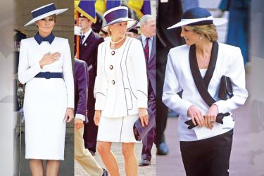 First Lady Melania Trump, 49, chose an ensemble in one of Princess Diana's favourite colour combinations - white and navy - for the engagement at Buckingham Palace today, left. The royal wore crisp navy and white tailoring on a number of occasions, including for the 50th anniversary of VJ Day in 1995 (centre) and an outing to Royal Ascot 10 years earlier in 1985 (right)