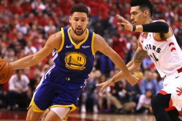 Golden State's Klay Thompson, left, is set to return for the Warriors in game four of the NBA Finals after missing game three with a hamstring strain. - AFP