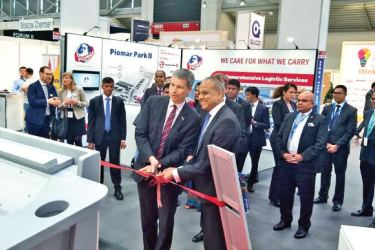 Minister of Ports and Shipping Sagala Ratnayaka and the Parliamentary State Secretary of Germany Steffen Bilger opens the Sri Lanka Country Pavilion at the Transport and Logistics Fair – 2019 in Munich, Germany.