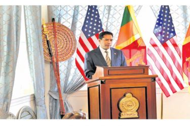 Sri Lankan Ambassador to the United States of America, Rodney Perera delivering a speech after assuming duties at the Sri Lankan Embassy in Washington DC on Monday.