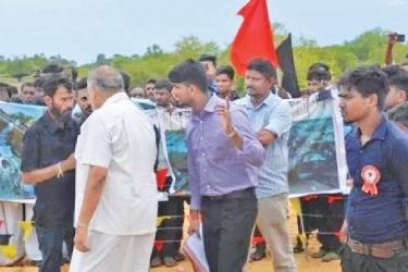 At the protest in Jaffna.
