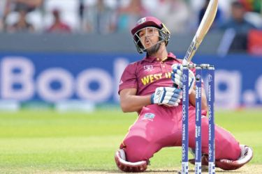 West Indies' Nicholas Pooran reacts whilst batting during the 2019 Cricket World Cup group stage match against Afghanistan at Headingley in Leeds, England, on Thursday. - AFP