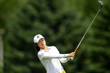 China's Liu Yu hits her tee shot on the ninth hole during the first round of the LPGA Tour's Thornberry Creek Classic at Oneida, Wisconsin. AFP