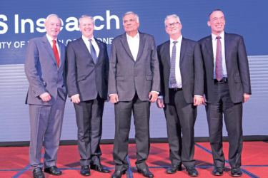 Prime Minister Ranil Wickremesinghe with Australia's High Commissioner to Sri Lanka David Holly, Deputy Vice-Chancellor and Vice-President (International) for UTS, Iain Watt; Managing Director of UTS Insearch Alex Murphy and other officials at the launch
