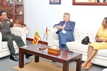 Ambassador of the Federal Republic of Germany to Sri Lanka, Joern Rohde and Commander Security Force - Jaffna, Major General Darshana Hettiarachchi during the discussions.