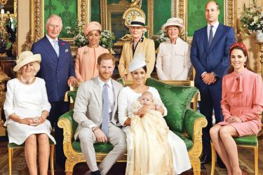 Seated (left to right): The Duchess of Cornwall, The Duke of Sussex, Archie Harrison Mountbatten-Windsor, The Duchess of Sussex, The Duchess of Cambridge Standing (left to right): The Prince of Wales, Ms Doria Ragland, Lady Jane Fellowes, Lady Sarah McCorquodale, The Duke of Cambridge