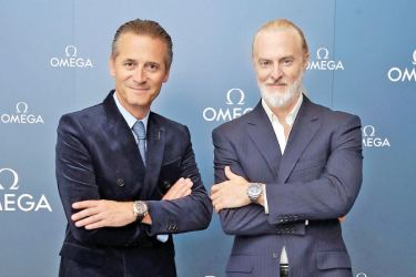 President and CEO of OMEGA, Raynald Aeschimann and Victor Vescovo
