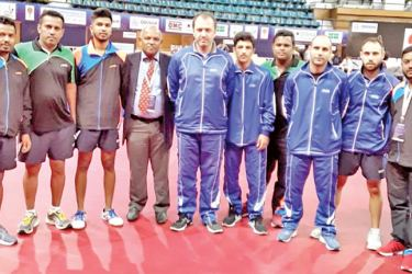 Sri Lanka men's TT team and Cyprus team team after their matches