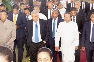 President Maithripala Sirisena and Prime Minister Ranil Wickremesinghe arriving at the BMICH for the 80th anniversary ceremony of the Bank of Ceylon, yesterday. Speaker Karu Jayasuriya,  President's Counsel and BOC Chairman Ronald C. Perera, CEO\ General Manager Senarath Bandara and BoC staff were present. Picture by Sudath Malaweera