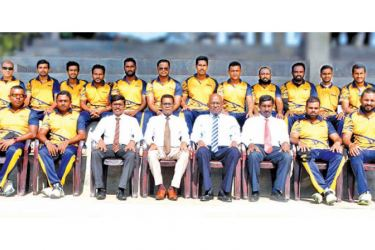 S D N Perera (General Manager/CEO of NSB), the President of the NSB Sports Club - K Raveendran, Senior Deputy General Manager - Gamini Jayaweera, Deputy General Manager (Audit) - Mangala Karunarathne, Assistant General Manager (Engineering) and Vice President of the NSB Sports Club with the victorious NSB cricket team members.