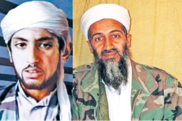 Hamza  bin Laden  (top) and his  father Osama  bin Laden.