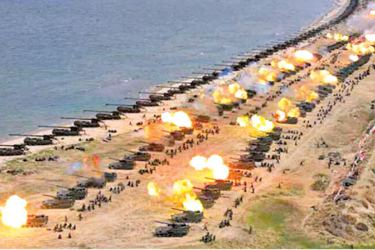 Aerial view of a previous US - North Korea military drill.