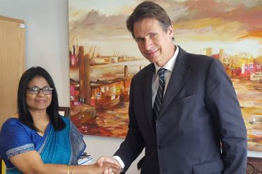 Ambassador-designate of Sri Lanka to the European Union Grace Asirwatham with Managing Director for the Asia Pacific Region of the European External Action Service (EEAS) Gunnar Wiegand.