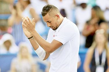 Nick Kyrgios of Australia celebrates after defeating Daniil Medvedev of Russia during the men's singles final of the Citi Open at Rock Creek Tennis Center on August 04, 2019 in Washington, DC. AFP