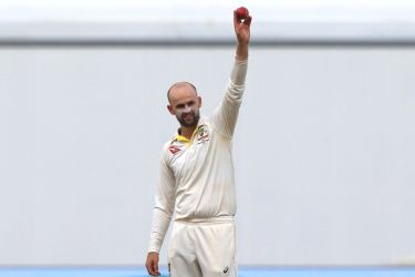 Nathan Lyon celebrates after taking the wicket of England's Moeen Ali on the fifth day of the first Ashes cricket Test match at Edgbaston in Birmingham on August 5. AFP
