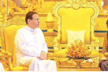President Maithripala Sirisena during a discussion with the Cambodian King.