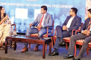 Dr Charuni Senanayake, interviewed a panel of rugby experts (from left) Duminda Silva, Mahesh Senanayake, and Dr. Chamu de Silva.