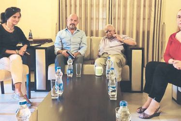 TNA Leader R.Sampanthan meeting members of an European Union delegation comprising of Policy Officer Democracy and Electoral Observation Riccardo Chelleri and Deputy Head,Political, Trade, Communications Section Anne Vaugier Chatterjee and others in Colombo yesterday.