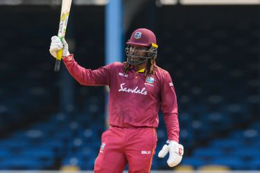 Chris Gayle of West Indies celebrates during the 2nd ODI match between West Indies and India at Queens Park Oval in Port of Spain, Trinidad and Tobago, on August 11. AFP