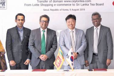 The representatives from both parties including Charge d'Affaires of the Sri Lankan Embassy in Korea, Jagath Abeywarna, Sri Lanka Tea Chairman Board Lucille Wijewardena, and Korean Chaebol Lotte Group e-Commerce Business Headquarters Chief Executive Director Lim Sung-muk, who participated in the signing ceremony at the Lotte World Tower on August 9.