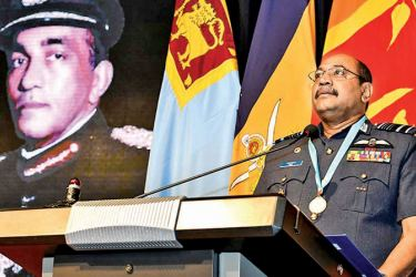 Air Force Commander Air Marshal Sumangala Dias delivers the memorial oration.