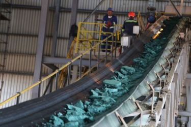 A conveyor belt carries chunks of raw cobalt at a plant in Lubumbashi in the Democratic Republic of Congo