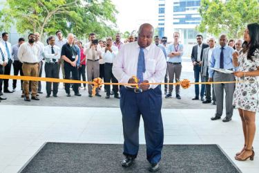 A.S.G. Gnanam, Director of Orion City opens the tower.