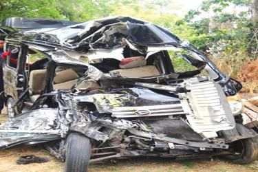 The wreckage of one of the vehicles involved in the collision at Kudameegaswewa on the Habarana - Dambulla road yesterday. Picture by Sigiriya Special Corr.