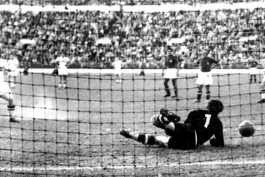 Ferenc Puskás (left) scores the opening goal in Hungary's 2-0 win over Yugoslavia in the gold medal match at the Helsinki Olympics in August 1952. Zoltán Czibor scored the other goal at the Olympic Stadium, Helsinki in front of 58,553 fans.